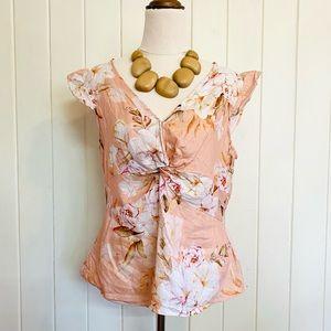 🌱 PORTMANS Sz 12 Floral Peach 100% Linen Blouse